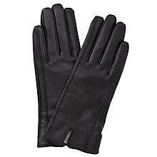 Buy John Lewis Tram Lined Leather Gloves, Black Online at johnlewis.com