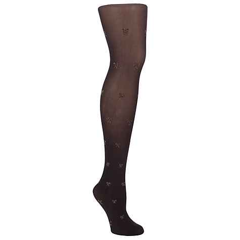 Buy John Lewis 60 Denier Metallic Bow Tights, Black/Gold Online at johnlewis.com