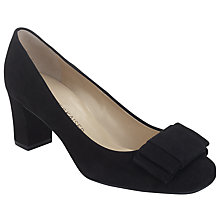 Buy Peter Kaiser Pallau Suede Bow Block Heel Court Shoes, Black Online at johnlewis.com