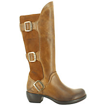 Buy Fly London Mynd Leather/Suede Knee High Boots, Camel Online at johnlewis.com