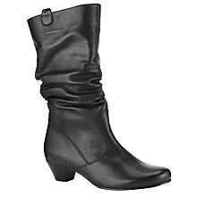 Buy Gabor Rachel Leather Knee Boots, Black Online at johnlewis.com