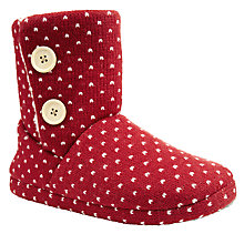 Buy John Lewis Handel Spotted Knitted Slipper Boots, Red Online at johnlewis.com