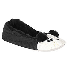 Buy John Lewis Panda Slippers, Black/White Online at johnlewis.com