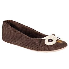 Buy John Lewis Owl Slippers, Brown / White Online at johnlewis.com