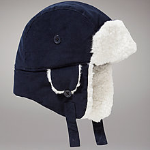 Buy John Lewis Corduroy Trapper Hat, Navy Online at johnlewis.com