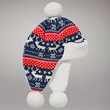 Buy John Lewis Fair Isle Hat, Navy/Red Online at johnlewis.com