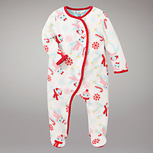 Buy John Lewis Penguin Fleece Sleepsuit, Cream/Multi Online at johnlewis.com