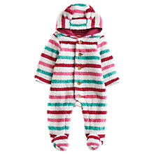 Buy Baby Joule Snuggle Fleece Stripe Sleepsuit, White/Multi Online at johnlewis.com