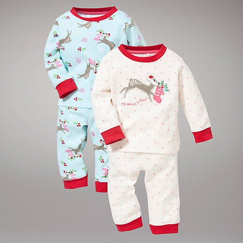 Buy John Lewis Reindeer Polka Dot Pyjamas, Pack of 2, Cream/Blue Online at johnlewis.com