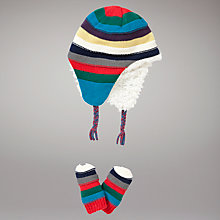 Buy John Lewis Striped Trapper Hat and Gloves, Multi Online at johnlewis.com