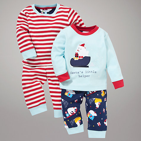 Buy John Lewis Polar Bear Stripe Pyjamas, Pack of 2, Red/Blue Online at johnlewis.com
