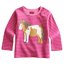 Buy Baby Joule Bess Pony Stripe Long Sleeve Top, Pink Online at johnlewis.com