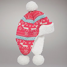 Buy John Lewis Baby Fair Isle Trapper Hat, Berry Red/Multi Online at johnlewis.com