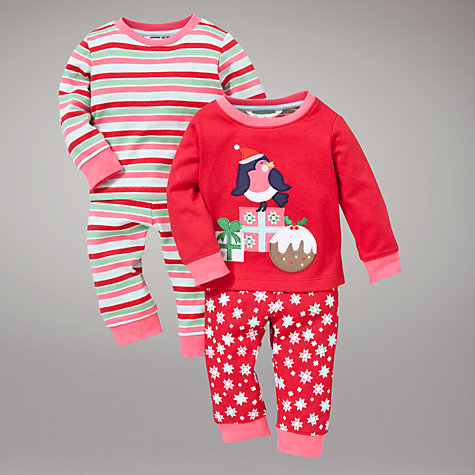 Buy John Lewis Robin and Stripe Pyjamas, Pack of 2, Red/Pink Online at johnlewis.com