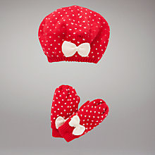 Buy John Lewis Spotted Beret and Mittens Online at johnlewis.com