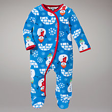 Buy John Lewis Snowman Fleece Sleepsuit, Blue/Multi Online at johnlewis.com
