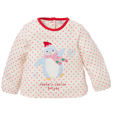 Buy John Lewis Penguin Spot Long Sleeve Top, Cream/Multi Online at johnlewis.com
