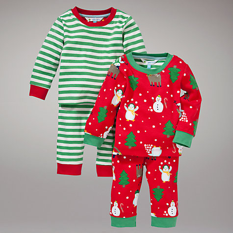Buy John Lewis Snowman Reindeer Stripe Pyjamas, Pack of 2, Red/Green Online at johnlewis.com
