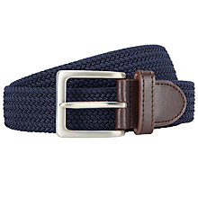 Buy John Lewis Plaited Leather Trim Web Belt, Navy Online at johnlewis.com