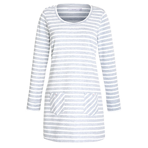 Buy John Lewis Loop Back Stripe Nightdress, Grey Marl Online at johnlewis.com