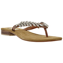 Buy Dune Kindy Diamanté Toe Post Leather Sandals, Tan Online at johnlewis.com