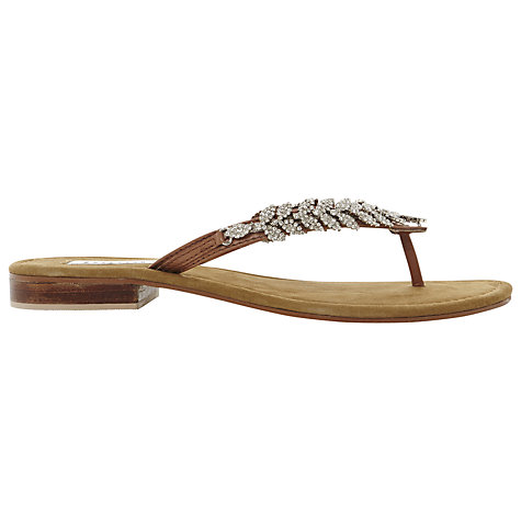 Buy Dune Kindy Leather Diamanté Flat Sandals Online at johnlewis.com