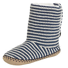 Buy John Lewis Satie Stripe Knitted Slippers, Navy/Cream Online at johnlewis.com