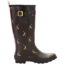 Buy Joules Hare Print Wellington Boots, Brown Online at johnlewis.com