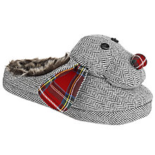 Buy John Lewis Harry the Dog Herringbone Slippers, Grey Online at johnlewis.com