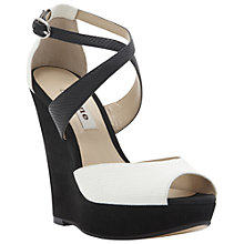 Buy Dune Holloway Platform Wedge Shoes, White/Black Online at johnlewis.com