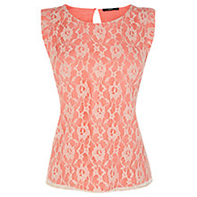 Buy Oasis Lace Shell Top, Pale Pink Online at johnlewis.com