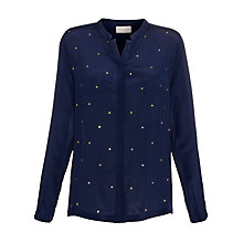 Buy Pyrus Silk Crepe Stud Blouse, Marine Online at johnlewis.com