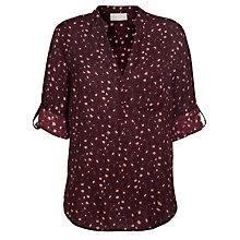 Buy Pyrus Printed Turn-Up Sleeve Blouse, Vivian Burgundy Online at johnlewis.com