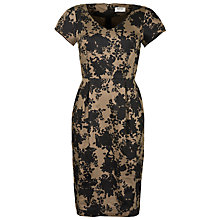 Buy People Tree Lauren Rose Print Fitted Dress, Mushroom Online at johnlewis.com