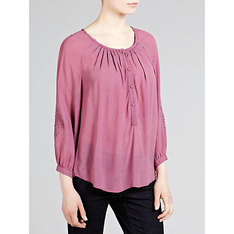 Buy Pyrus Crepe Cutwork Embroidered Blouse, Sorbet Online at johnlewis.com