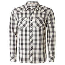Buy Replay Long Sleeve Check Shirt, White/Black Online at johnlewis.com