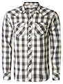 Replay Long Sleeve Check Shirt, White/Black