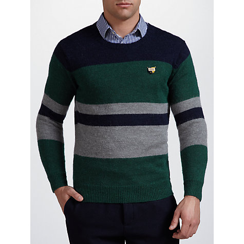 Buy Scotch & Soda Striped Crew Neck Jumper, Green Online at johnlewis.com