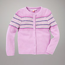 Buy John Lewis Fair Isle Cardigan, Pink/Purple Online at johnlewis.com