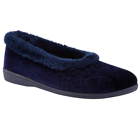 Buy John Lewis Borodin Full Slippers, Navy Online at johnlewis.com