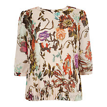 Buy Ted Baker Roseyy Floral Pleated Top, Natural Online at johnlewis.com