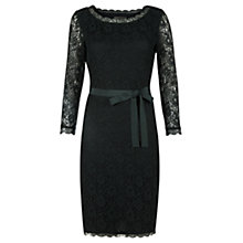 Buy Jigsaw Lace Fitted Dress, Bottle Green Online at johnlewis.com