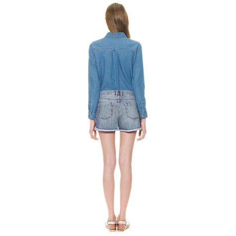 Buy Whistles Libby Boyfriend Denim Shorts, Blue Online at johnlewis.com