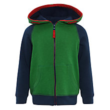 Buy John Lewis Boy Fleece-Lined Zip-Through Hoodie, Blue/Green Online at johnlewis.com