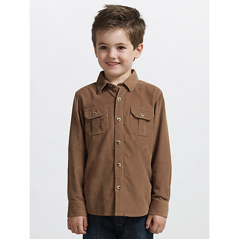 Buy John Lewis Boy Long Sleeve Corduroy Shirt, Tan Online at johnlewis.com