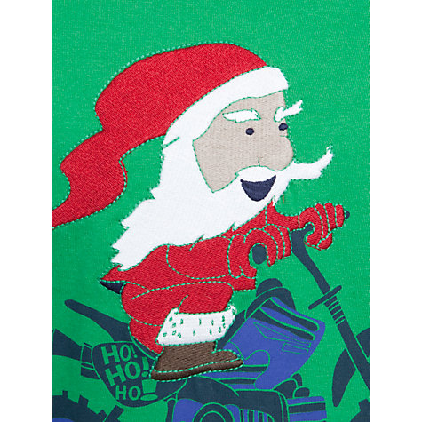 Buy John Lewis Boy Motorcycle Father Christmas Mock Sleeve Top, Green Online at johnlewis.com