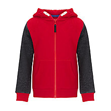 Buy John Lewis Boy Quilted Zip-Through Hoodie, Red Online at johnlewis.com