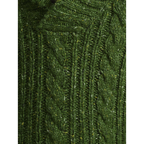 Buy John Lewis Boy Cable Knit Shawl Neck Jumper, Green Online at johnlewis.com