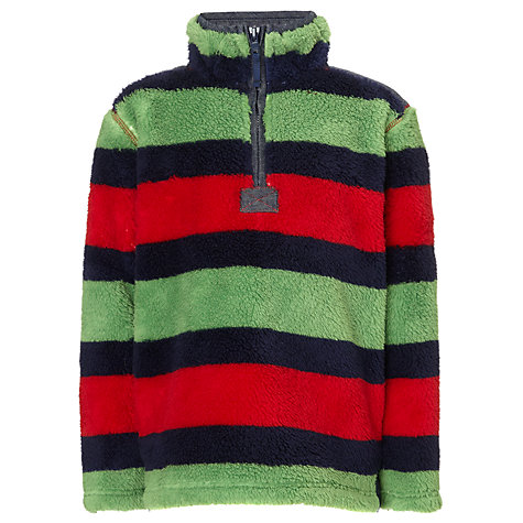 Buy John Lewis Boy Striped Shaggy Fleece, Green/Multi Online at johnlewis.com