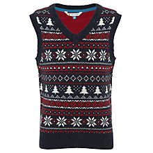 Buy John Lewis Boy Fair Isle Christmas V-Neck Tank Top, Navy/Red Online at johnlewis.com